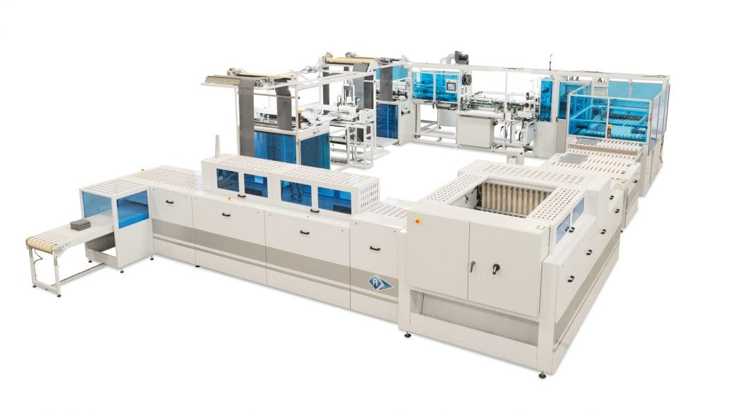 AES-4600 ESI-1200 T-MAX - Automatic Terry Towel Sewing Line complete with In-Line Decorative Label Applicator, Cross Hemming, Inspection & Folding Sections.