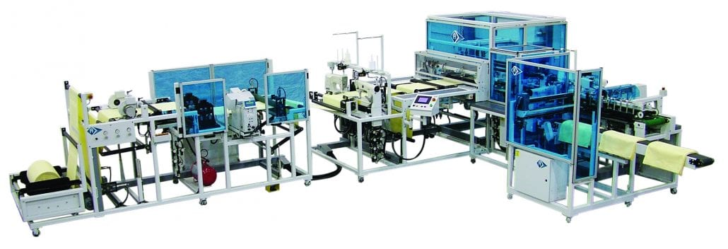FN-7725-OPB - Automated napkins lock stitching hemmed unit. - Automatex